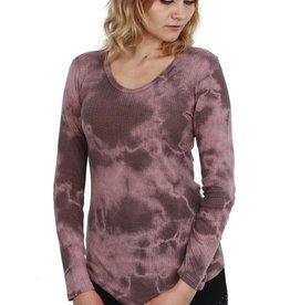Vocal Cloud Dye Long Sleeve Waffle Knit Top