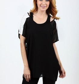 Vocal Short Sleeve Sheer Chiffon Top With Rhinestone Embellished Shoulders