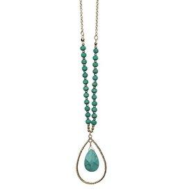 Jemology Open Tear Drop Necklace in Turquoise