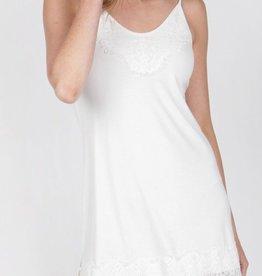 Basic Slip Dress with Eyelash Trim