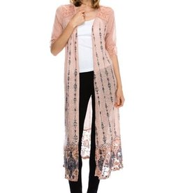 Vocal Half Sleeve Cardigan W/Print, Stones and lace Contrast Detail
