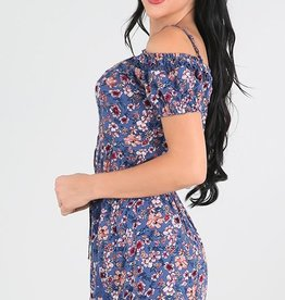 Nikibiki Lace Trimmed Floral Off Shoulder Romper