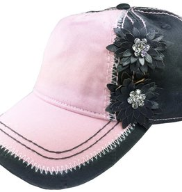 Chic Boutique Ladies Baseball Cap Embellished Bling Pink/Gray  Hat