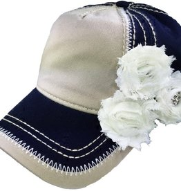 Chic Boutique Tan and Blue Baseball Cap w/ Shabby Chic Flowers and Bling