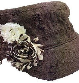 Embellished Cadet Style Hat with Shabby Flowers