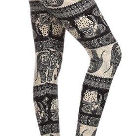 Awesome J Multi Elephant Print Leggings Skinny, Full Length, Elastic High Waist, Soft Material