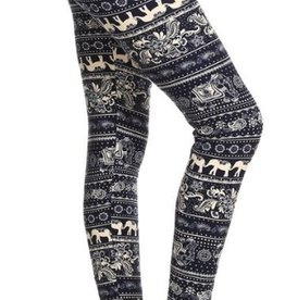 Awesome J Elephant Tribal Print Leggings Skinny, Full Length, Elastic High Waist, Soft Material