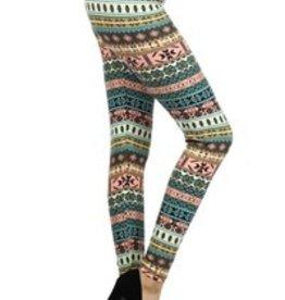 Awesome J Multi Aztec Tribal Print Leggings Skinny, Full Length, Elastic High Waist, Soft Material