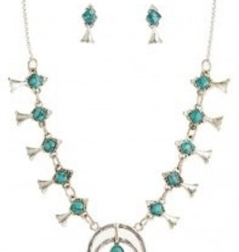 Silver & Turquoise Mini Squash Blossoms Necklace and Earring Set