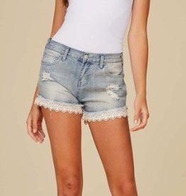 Denim Shorts with Lace Hem