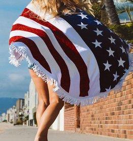 Us Flag Convertible Shawl & Beach Throw