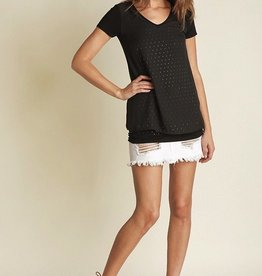 Vocal V-Neck Top with Chiffon and Stud Details