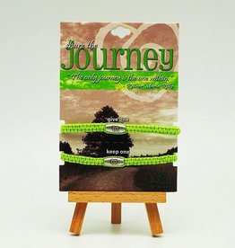 "Trust Your Journey Share ""Journey"" Adjustable Lime Green Bracelet with Heart Bead"