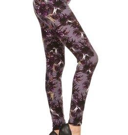 Multi Print Leggings Skinny, Full Length, Elastic High Waste, Soft Material - ONE SIZE
