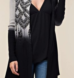 Vocal Hooded Cardigan with Feather Print and Rhinestones