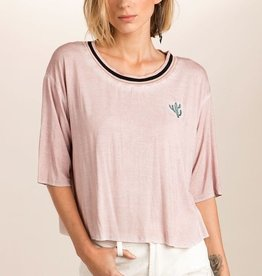 Sporty Ribbed Neckband Detail 3/4 Sleeve Top With Cactus Embroidery