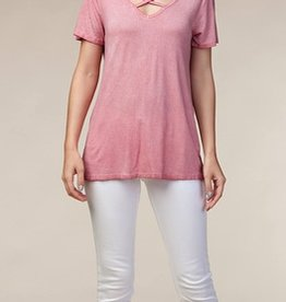 Vocal  V-Neck Open Back Oil Washed Tee