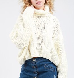 Cropped Turtle Neck Sweater With Chunky Cable Knit Detail