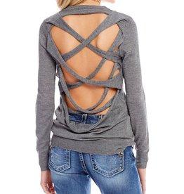 Miss Me Criss Cross Back Long Sleeve Sweater  Charcoal
