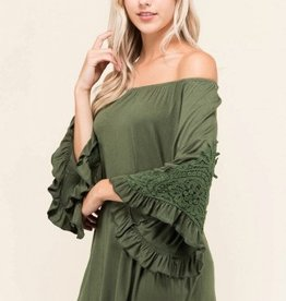 On or Off the Shoulder Relaxed Fit Top with Lace Embellished Wide Bell Sleeve