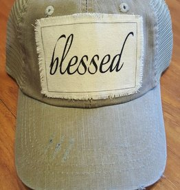 "Light Khaki Mesh Velcro Back Hat ""Blessed"" Patch"