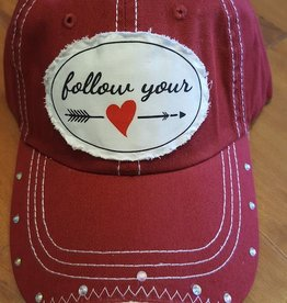 "Red Baseball Cotton Hat with Adjustable Back ""Follow Your Heart"" Patch"