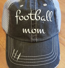 "Grey Mesh Hat with Sparkley ""Football Mom"" Script Velcro Adjustment at Back"