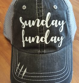 "Grey Mesh Hat with Sparkley ""Sunday Funday"" Script Velcro Adjustment at Back"
