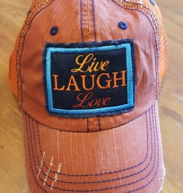 "Burnt Orange Mesh Hat with Adjustable Back ""Live Love Laugh"" Patch"