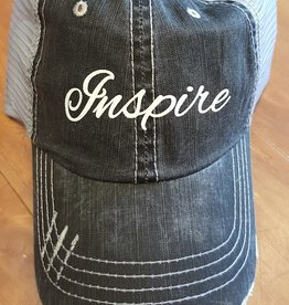 "Grey Mesh Hat with Sparkley ""Inspire"" Script Velcro Adjustment at Back"