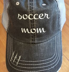 "Grey Mesh Hat with Sparkley ""Soccer Mom"" Script Velcro Adjustment at Back"