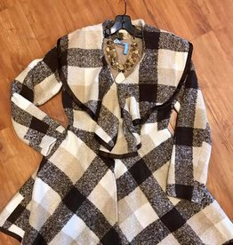 Brown Checkered Jacket with Ruffled Neckline