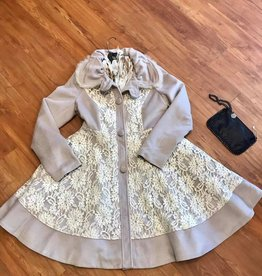 Ryu Peter Pan Collar Warm Grey Dress Coat with Floral Lace Overlay