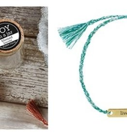 Faithworks LIVE IN JOY Turquoise<br /> Joy in a Jar String Bracelet in Small Glass Jar