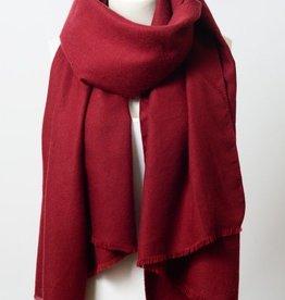 Leto Super Soft Burgundy Blanket Scarf with Frayed Edge