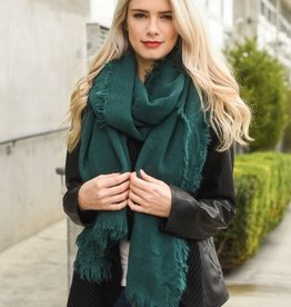 Leto Forest Green Grid Textured Blanket Scarf with Frayed Border