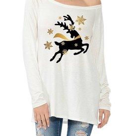Deer with Gold Snowflakes Christmas Long Sleeve High Low Scoop Neck Tee