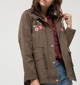 Embroidered Hooded Utility Jacket