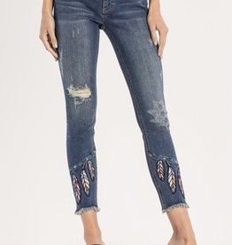 Miss Me Ankle Skinny with Embroidered Feathers