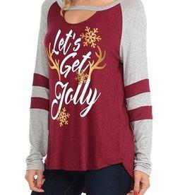 """""""Let's Get Jolly"""" Deer horn, Key hole neckline printed top in Burgundy"""