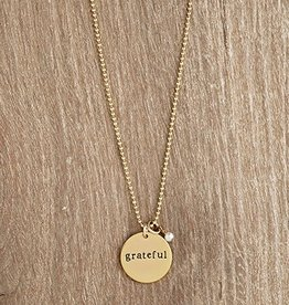 Urban Hope GRATEFUL Gold Disk with Pearl Dangle Necklace