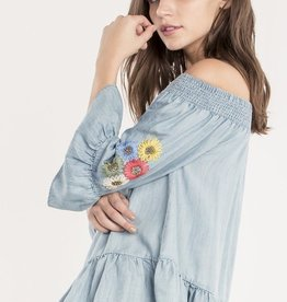 Miss Me Off the Shoulder Flower Embroidered Top