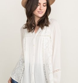 Mystree Lace Panel Blouse with Lace Trim