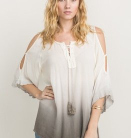 Mystree Cold Shoulder Lace Up Top