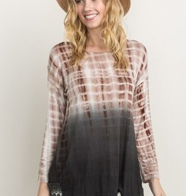 Mystree Ombre Tie Dye Top with Lace Detail