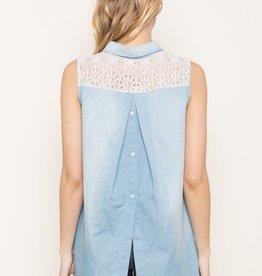 Mystree Tencel Chambray Button Up Shirt with Lace Yoke