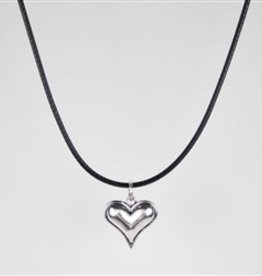 Simple Black Cord Necklace with Delicate Heart Pendant
