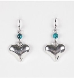 Silver Heart Dangle Earrings with Tiny Turquoise Accent Bead