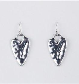 Silver Hammered Heart Dangle Earrings