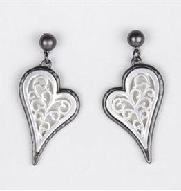 Two Tone SIlver Scroll Design Dangle Earrings